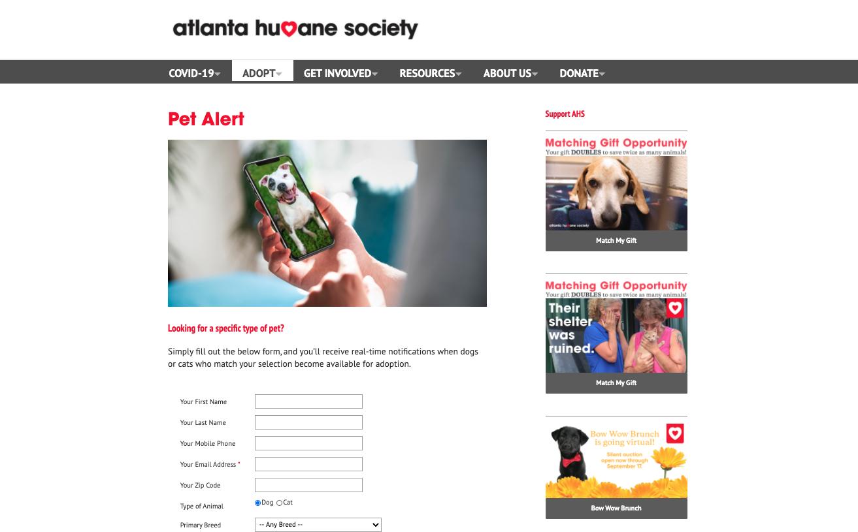 Atlanta Humane Society Pet Alert sign up page